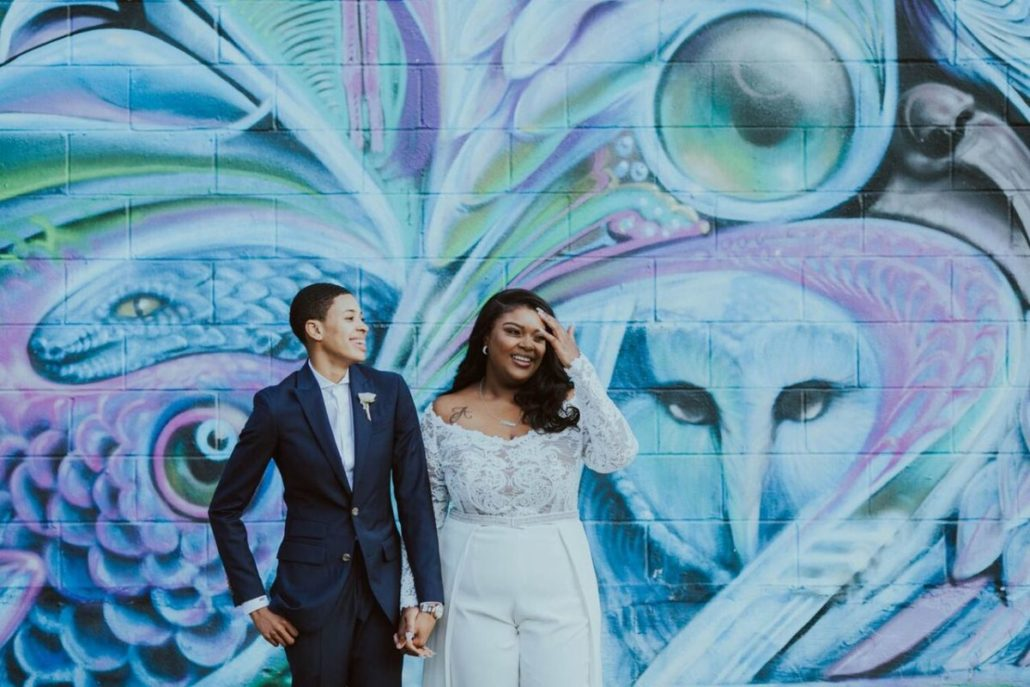 Ashley & Tiffany Wedding - Couple Portrait - Green Building - Brooklyn - Amber Gress Photography
