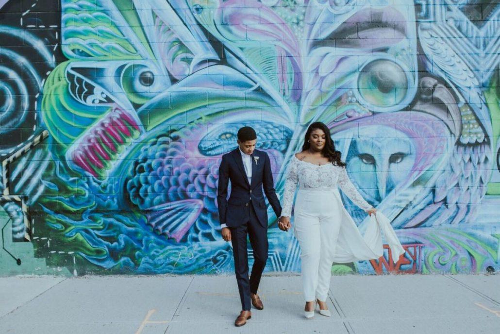 Ashley & Tiffany Wedding - Couple Portrait - Green Building Brooklyn - Amber Gress Photography