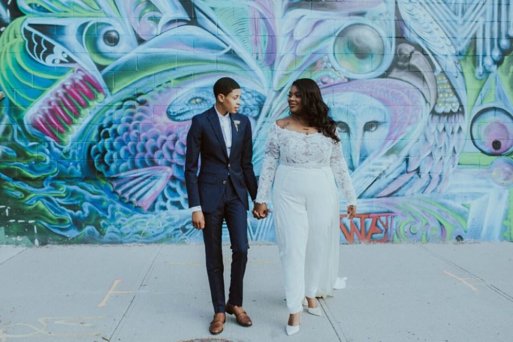 Ashley & Tiffany Wedding - Couple Portrait - Green Building Brooklyn - Amber Gress Photography