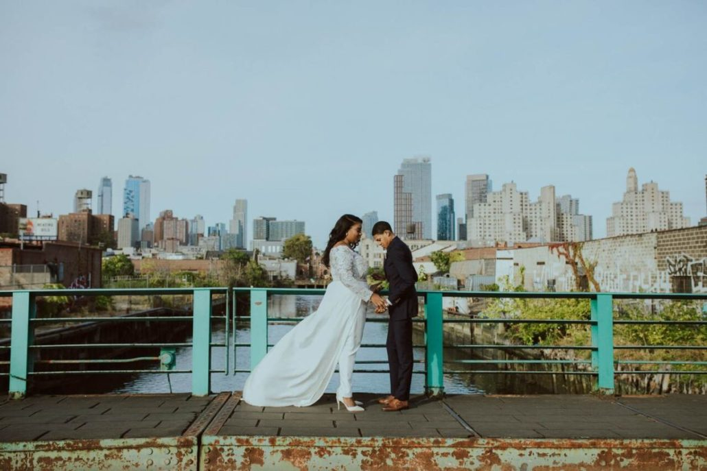 Ashley & Tiffany Wedding - First Look - Green Building Brooklyn - Amber Gress Photography