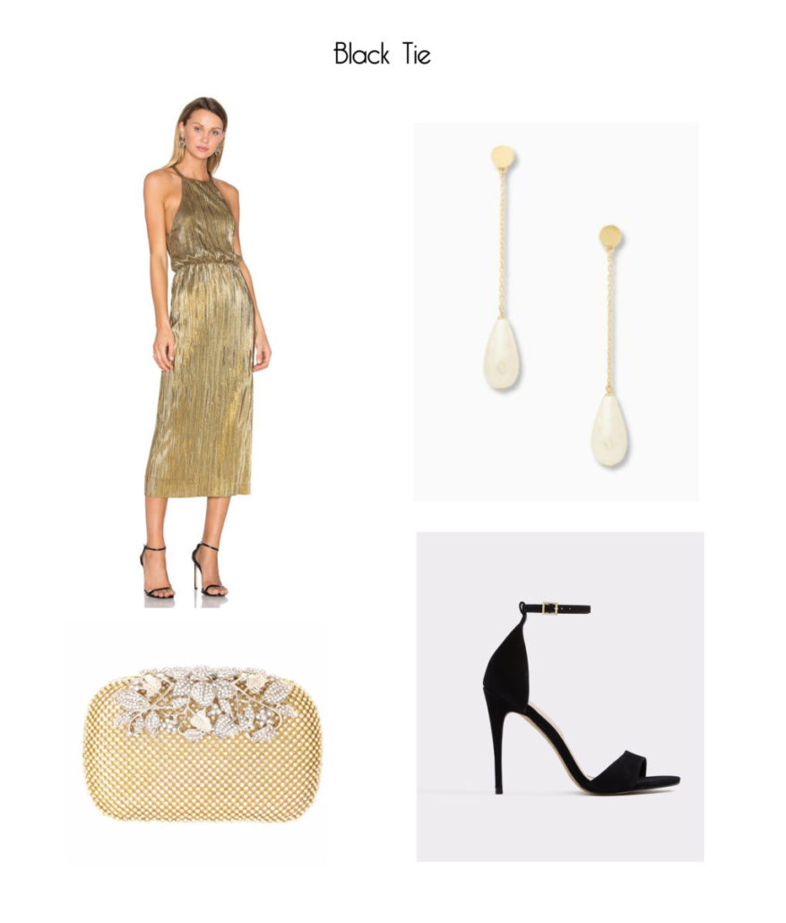 Farrah Dress by House of Harlow 1960; Kate Spade Gold & Pearl Linear Earrings; Fiallow Heel from Aldo ; Floral Crystal Minaudiere by Natasha