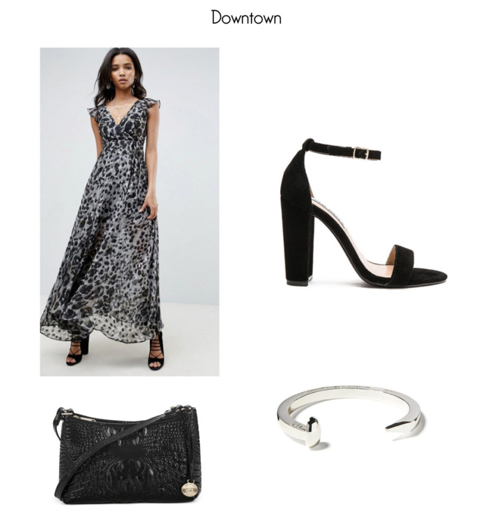 Leopard Maxi Dress by Religion; Carrson Heel by Steve Madden; Giles & Brother Silver Railroad Spike Cuff; Anytime Mini Melbourne by Brahmin