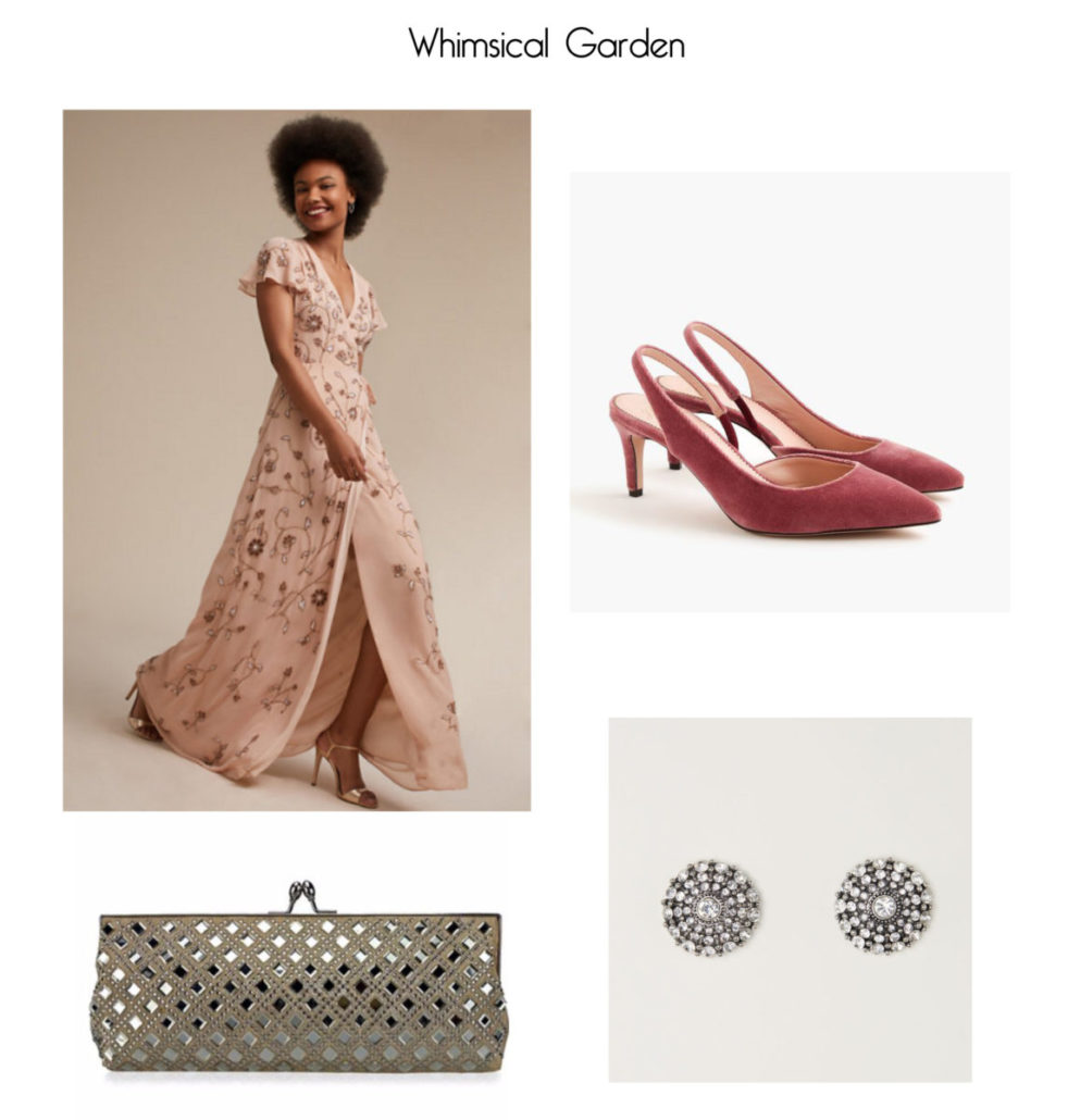 Plymouth Dress from BHLDN; Colette Slingback d'Orsay Pumps from J.Crew; Round Rhinestone Earrings from H&M; Nicola Embellished Clutch by Adrianna Papell