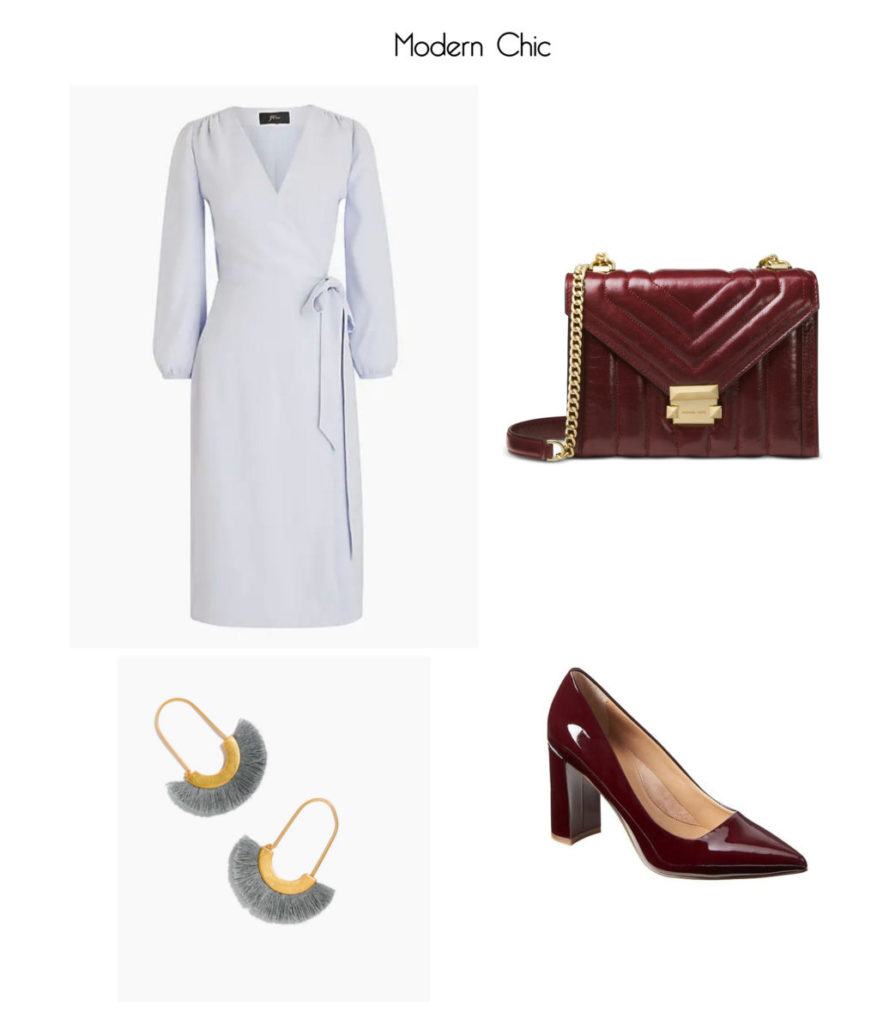 Wrap Dress in 365 Crepe from J.Crew; Whitney Polished Quilted Shoulder Bag by Michael Kors; Madison 12-Hour Block-Heel Pump from Banana Republic; Arc Wire Fringe Earrings from Madewell