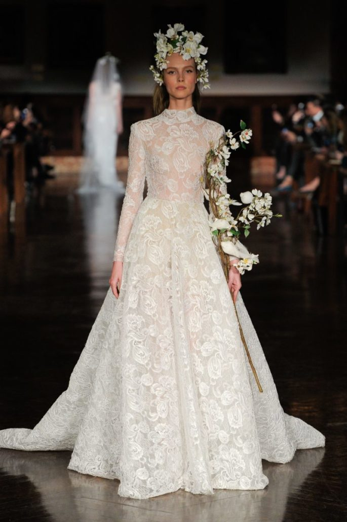 Long Sleeve Wedding Dress - Reem Acra - via vogue.com