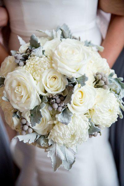 white chrysanthemum bouquet - via weddingwire.com