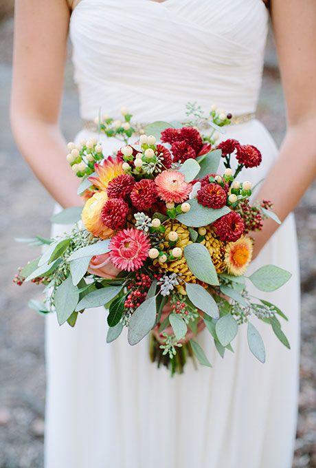 chrysanthemum fall bouquet - via brides.com