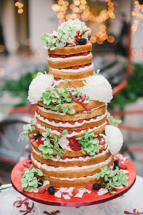 white chrysanthemum naked wedding cake - via weddingscoop.com