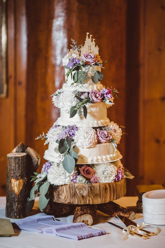 white chrysanthemum fairytale wedding cake - via whimsicalwonderlandweddings.com