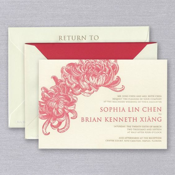 Vera Wang Letterpress Double Chrysanthemum Invitation - via crane.com