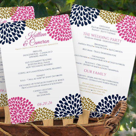Navy Blue Pink Gold Chrysanthemum Wedding Invitation - via karmakweddings.com