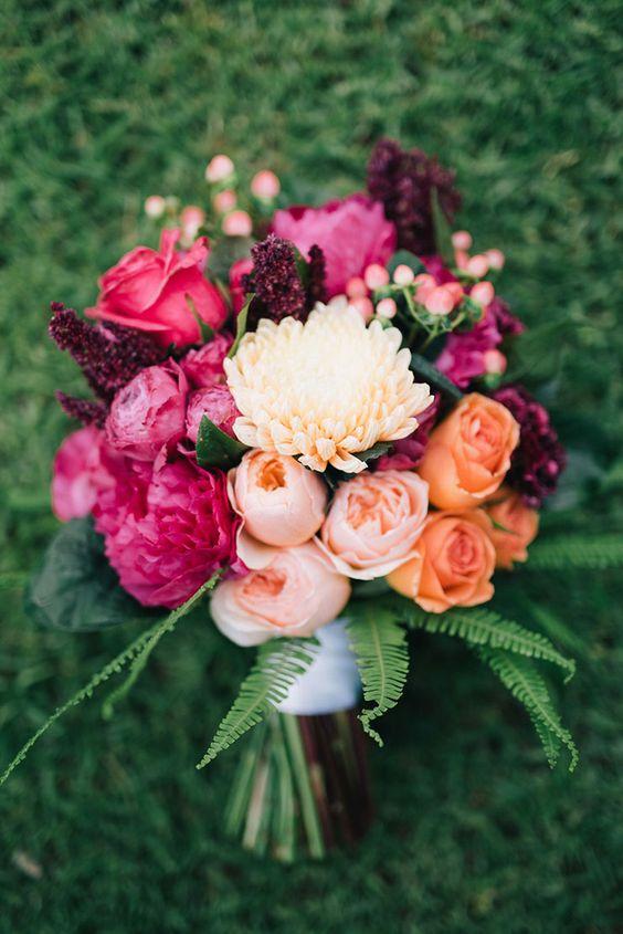 Jewel Tone Chrysanthemum Wedding bouquet - via theweddingplaybook.com
