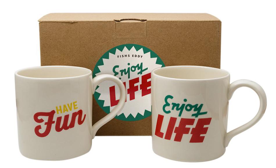 Have Fun Enjoy Life Coffee Mugs Gift Set - via fishseddy.com