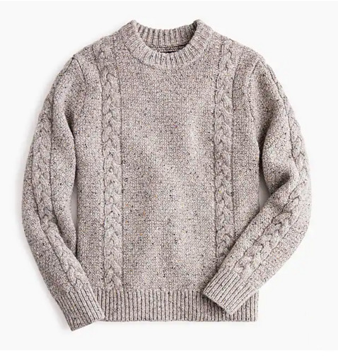 Cable Knit Crewneck Sweater in Irish Dogenal Wool - via jcrew.com