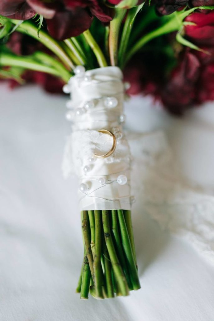 Lorenza & Pete Wedding - Bouquet with Grandfathers Ring - New York Botanical Garden - by The Hons