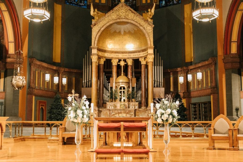 Lorenza & Pete Wedding - Alter Arrangements - Church of St. Paul the Apostle - by the Hons