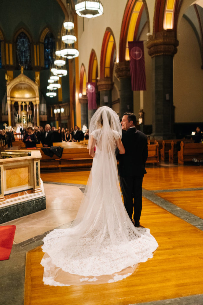 Lorenza & Pete Wedding - Bride and Father - Church of St. Paul the Apostle - by the Hons