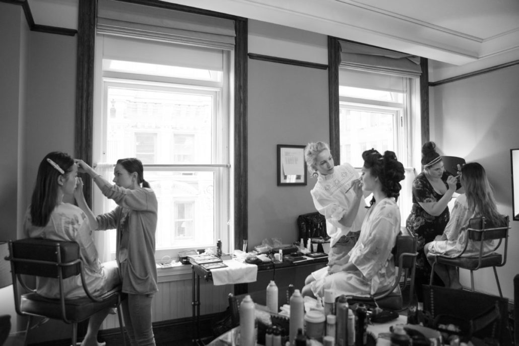 Sophia & Sam Wedding - Bride Getting Ready Lucy Flint of Miss Harlequin - Tribeca 360 NYC - by Shira Weinberger