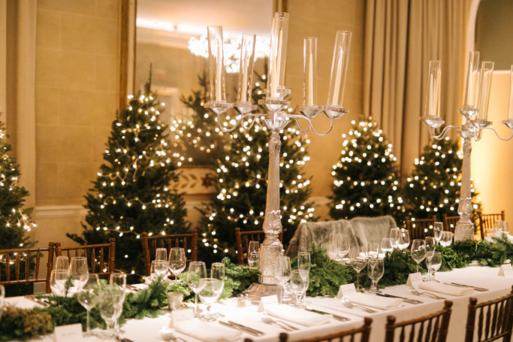 Lorenza & Pete Wedding - Candelabras with Christmas Trees - NYBG - by the Hons