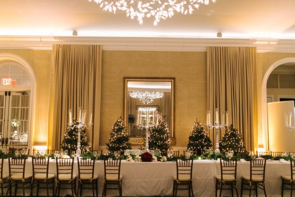 Lorenza & Pete Wedding - Candelabra - Centerpiece - Christmas trees - NYBG - by the Hons