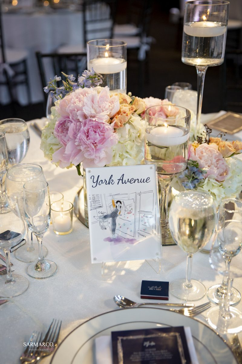 Allie & Jake Wedding - Low Centerpiece - Tribeca Rooftop - by Sarma Co Photography