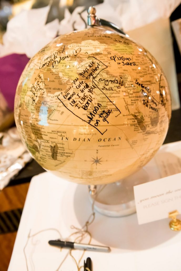 Nina & Vincent Wedding - Globe Guest Sign In - Bryant Park Grill - Andrea Fischman Photography