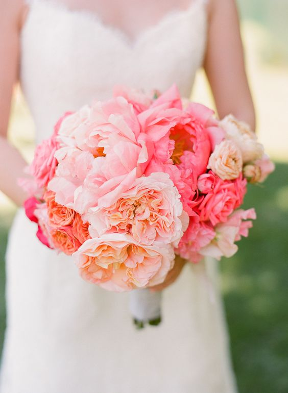 Wedding Bouquet - Living Coral - via stylemepretty.com