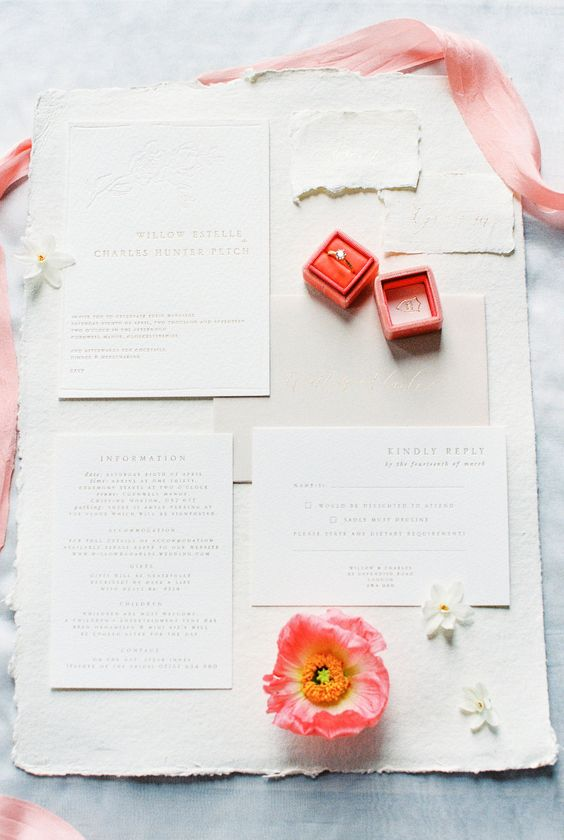 Wedding Invitations - Living Coral - via katecullen.co.uk