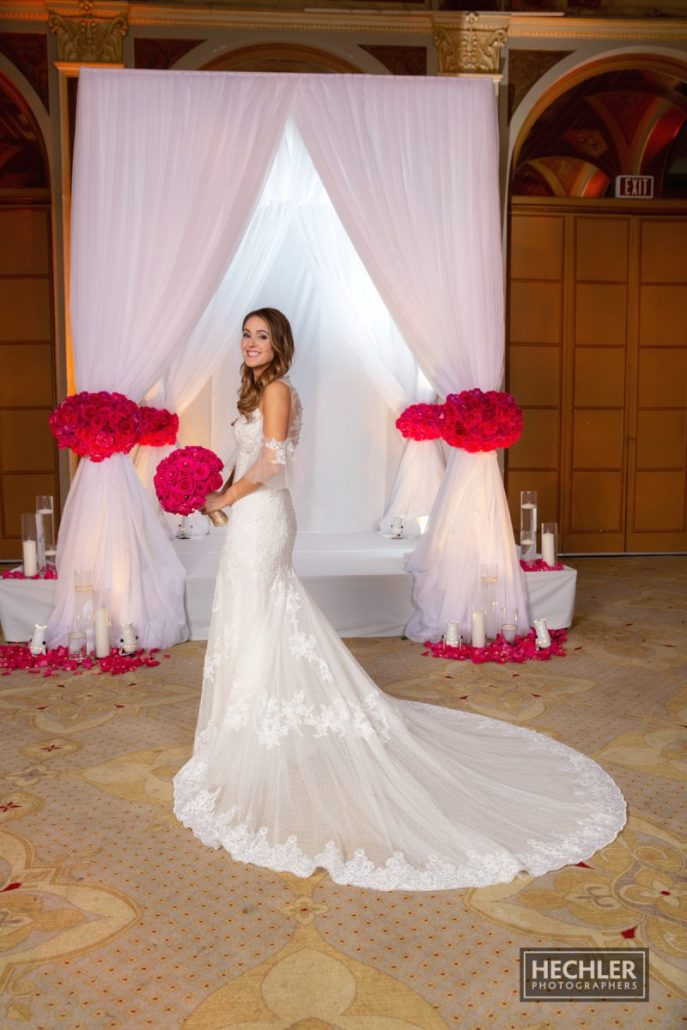 Hilary & Brad Wedding - Bride Bouquet Chuppah - Plaza Hotel - Hechler Photographers
