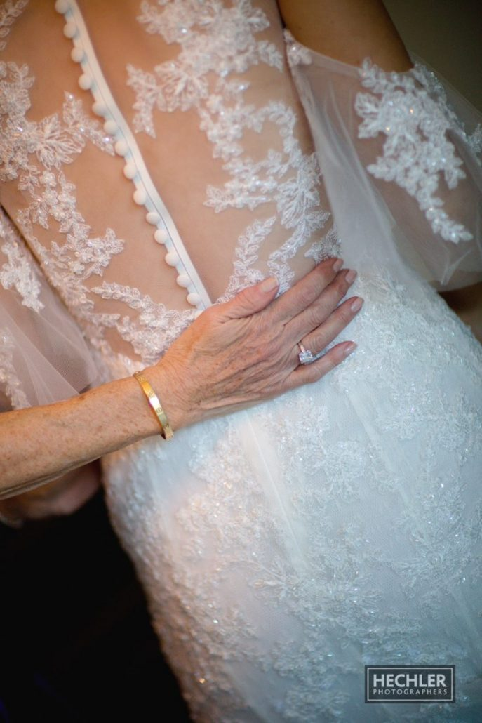 Hilary & Brad Wedding - Ceremony - Bride's Dress Detail - Plaza Hotel - Hechler Photographers