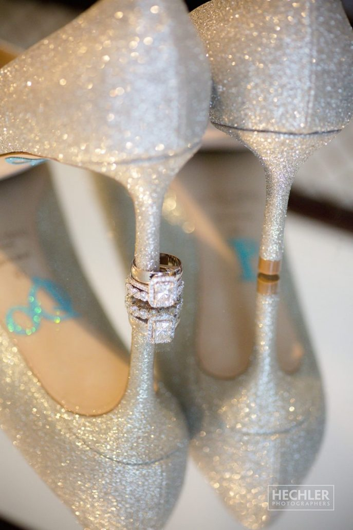 Hilary & Brad Wedding - Brides Shoes and Rings - Plaza Hotel - Hechler Photographers