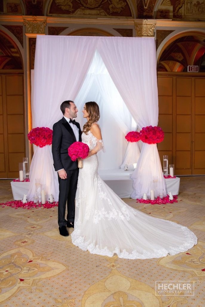 Hilary & Brad Wedding - Bride and Groom Chuppah - Plaza Hotel - Hechler Photographers