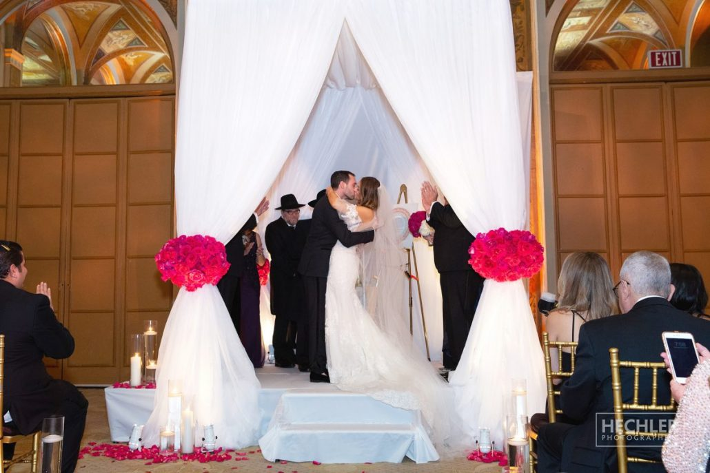 Hilary & Brad Wedding - First Kiss - Ceremony - Plaza Hotel - Hechler Photographers