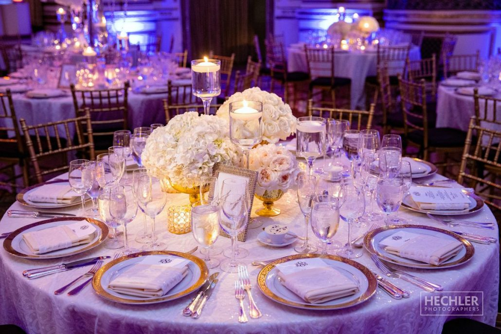 Hilary & Brad Wedding - Low Centerpiece - Plaza Hotel - Hechler Photographers