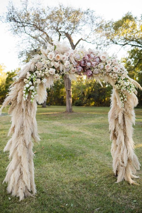 pampas grass wedding arch - via bridesmagazine.co.uk