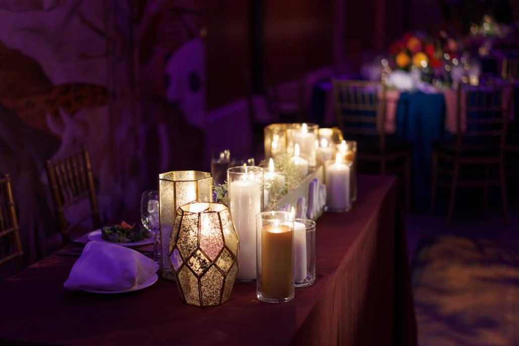 Rashna & Sean Wedding - Sweetheart Table Candles - Bronx Zoo - Dideo Films Photography
