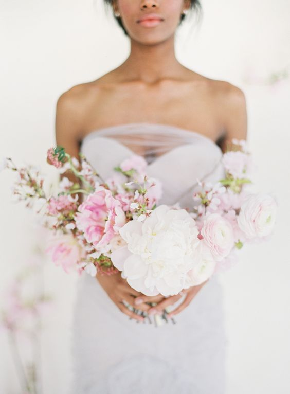 bridal bouquet with cherry blossoms - stylemepretty.com