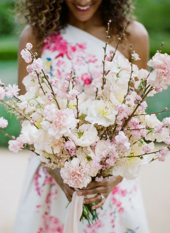 wedding bouquet with cherry blossoms - via stylemepretty.com