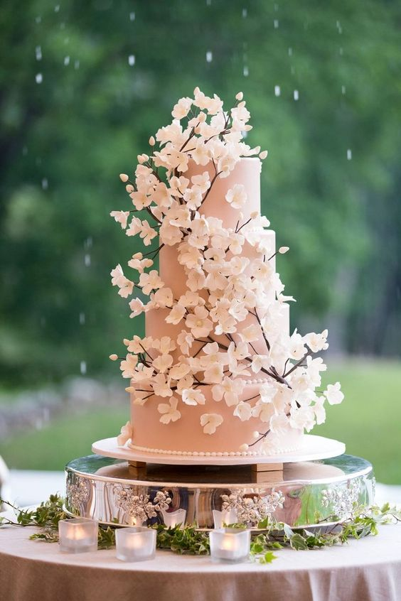 wedding cake with sugar cherry blossoms - via  weddingtopia.co