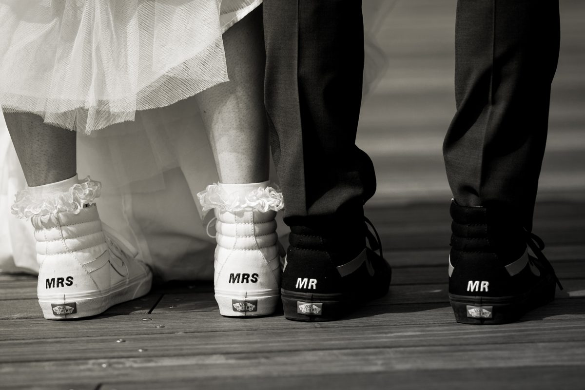 Sara & Mitch Wedding - Mr Mrs Vans Shoes - The Foundry - Craig Paulson Studio