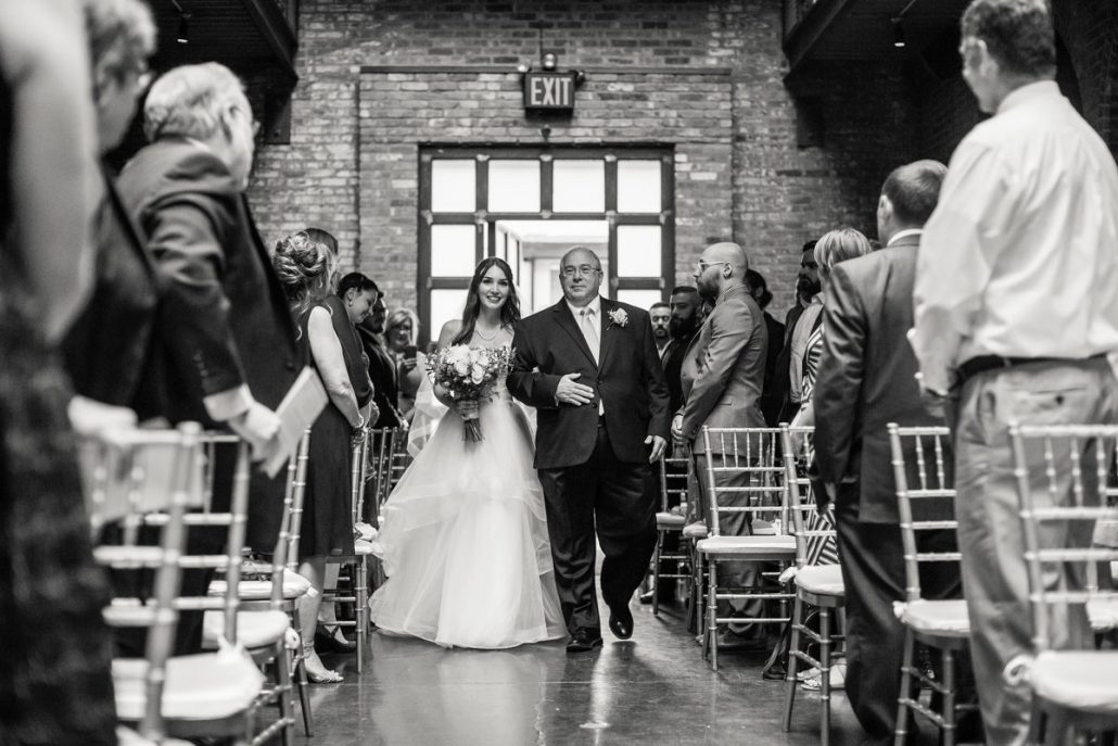 Sara & Mitch Wedding - Bride and Father Walking Down Aisle - The Foundry - Craig Paulson Studio