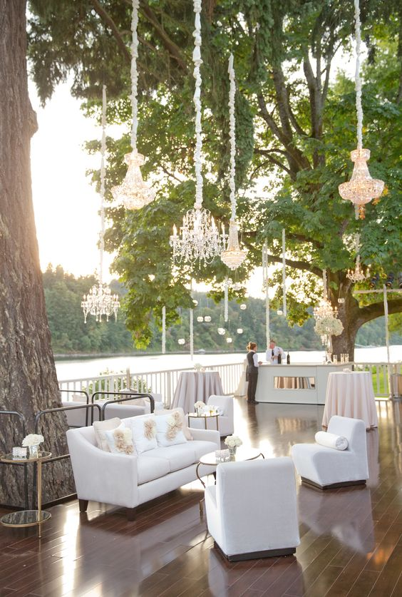 Lakeside Wedding Lounge Ideas - via insideweddings.com
