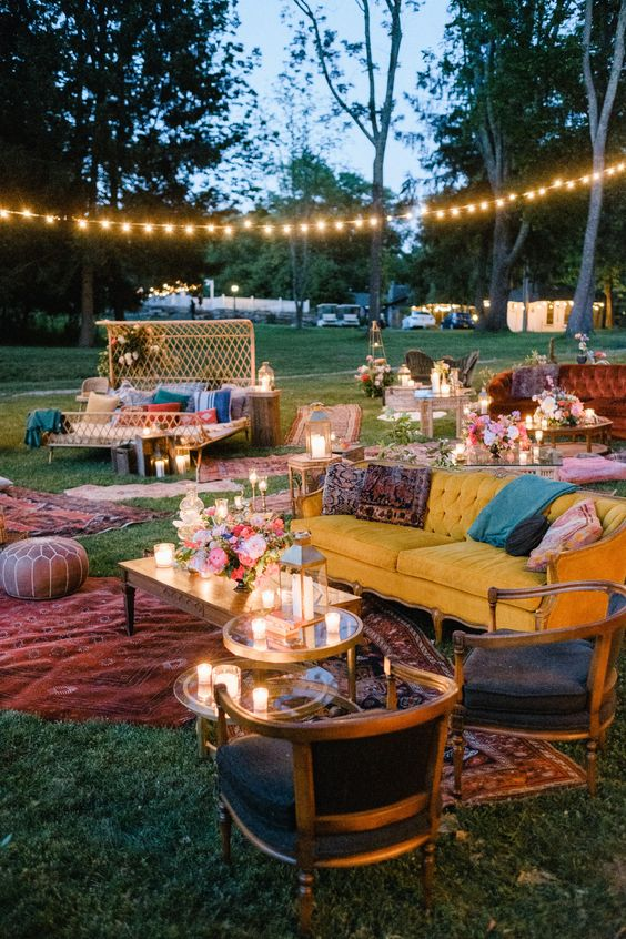 Backyard Wedding Lounge Ideas - via brides.com