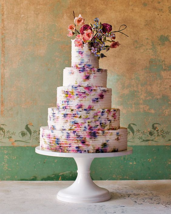 Maggie Austin watercolor wedding cake - via marthastewartweddings.com
