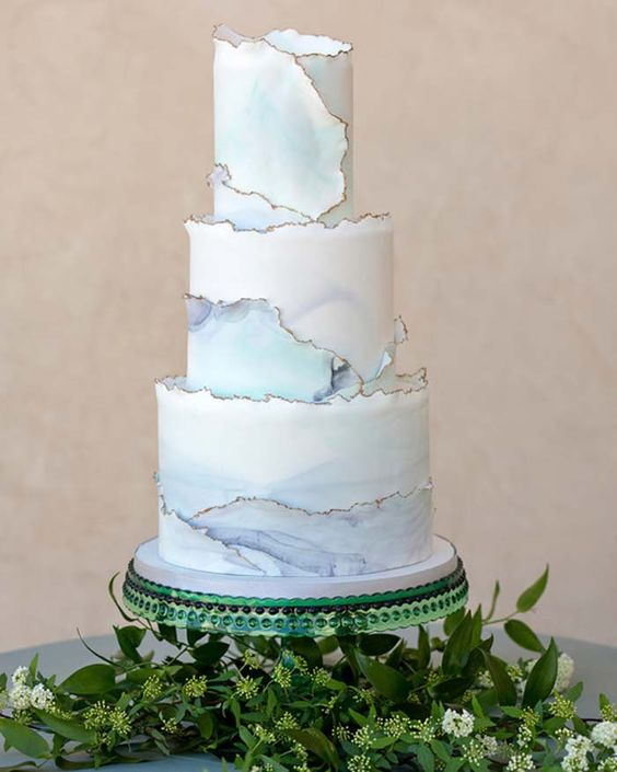 Painted Modern Wedding Cake - via modernwedding.com.au