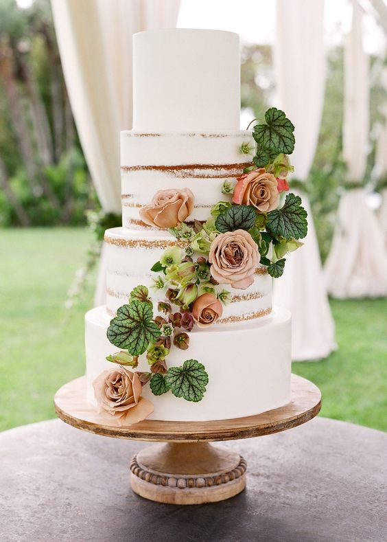 Naked Wedding Cake - via brides.com