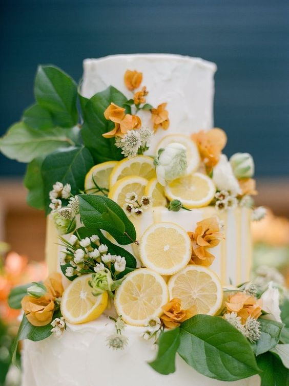 Lemon Greenery Wedding Cake - via stylemepretty.com