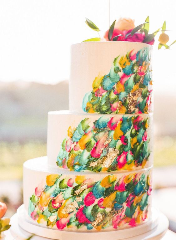 Modern Painted Wedding Cake - via ruffleblog.com