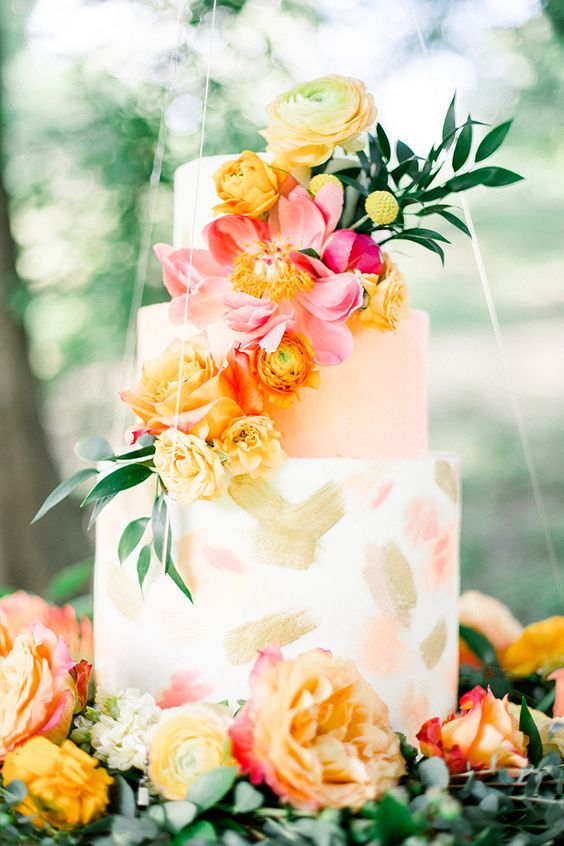 Colorful Summer Wedding Cake - via heyweddinglady.com