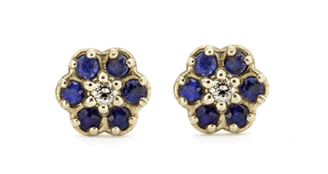 Blue Sapphire Flower Earrings - via fitzgeraldjewelry.com